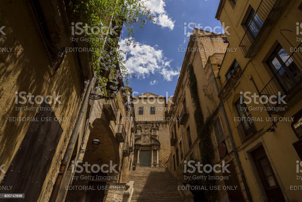 Medieval quarter Girona stock photo