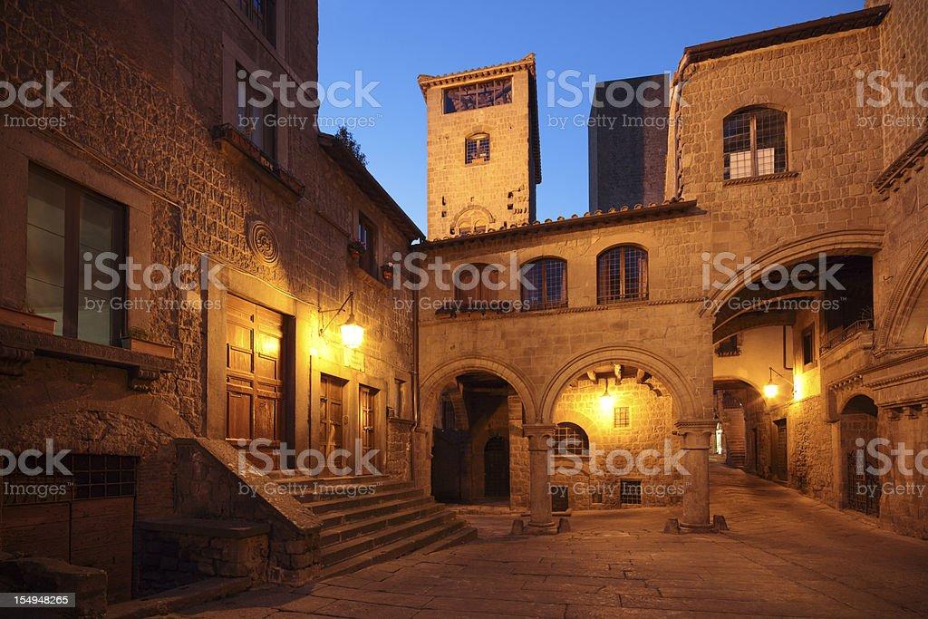 Medieval quarter of San Pellegrino in Viterbo, Lazio Italy stock photo