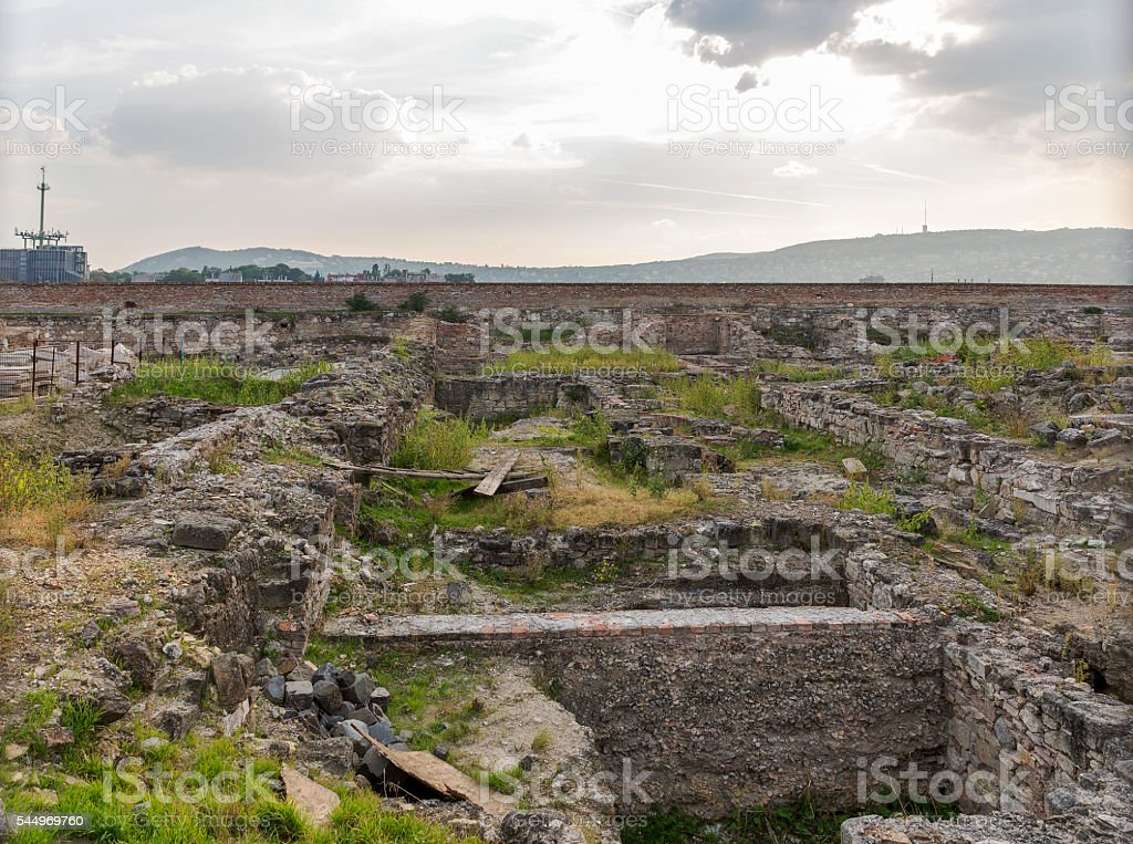 Medieval ruins in Budapest Castle stock photo