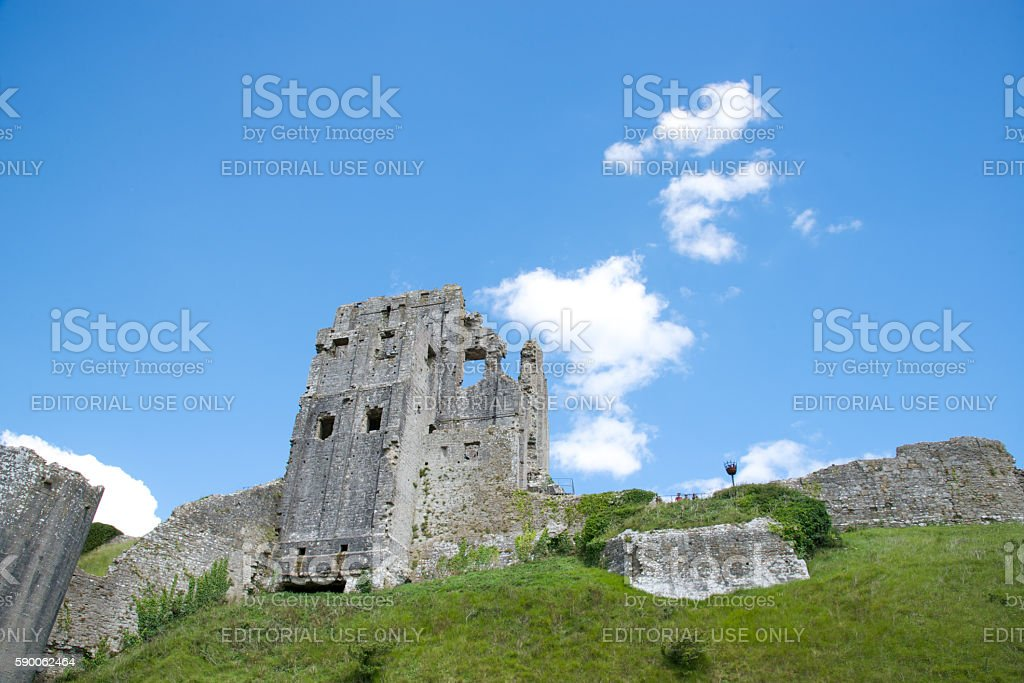 Medieval ruins of Corfe Castle in Dorset, England stock photo