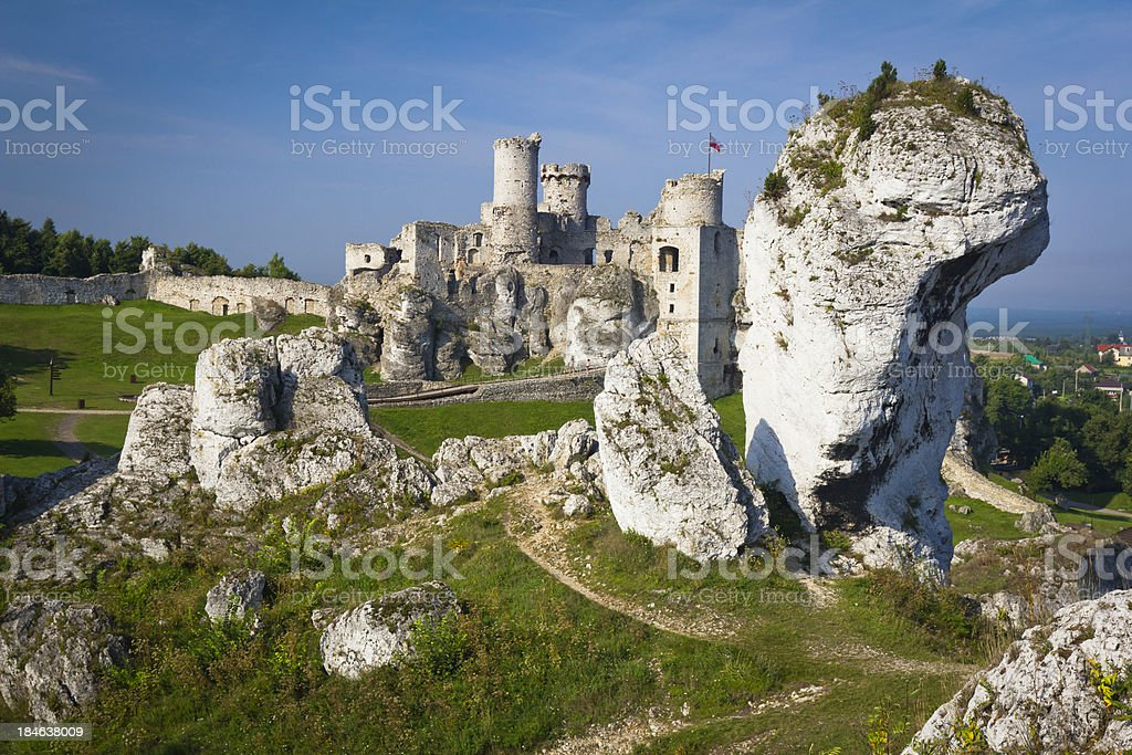 Medieval ruins of Ogrodzieniec Castle stock photo