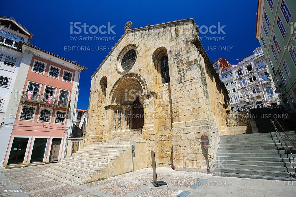 Medieval Santiago Church in Coimbra, Portugal stock photo