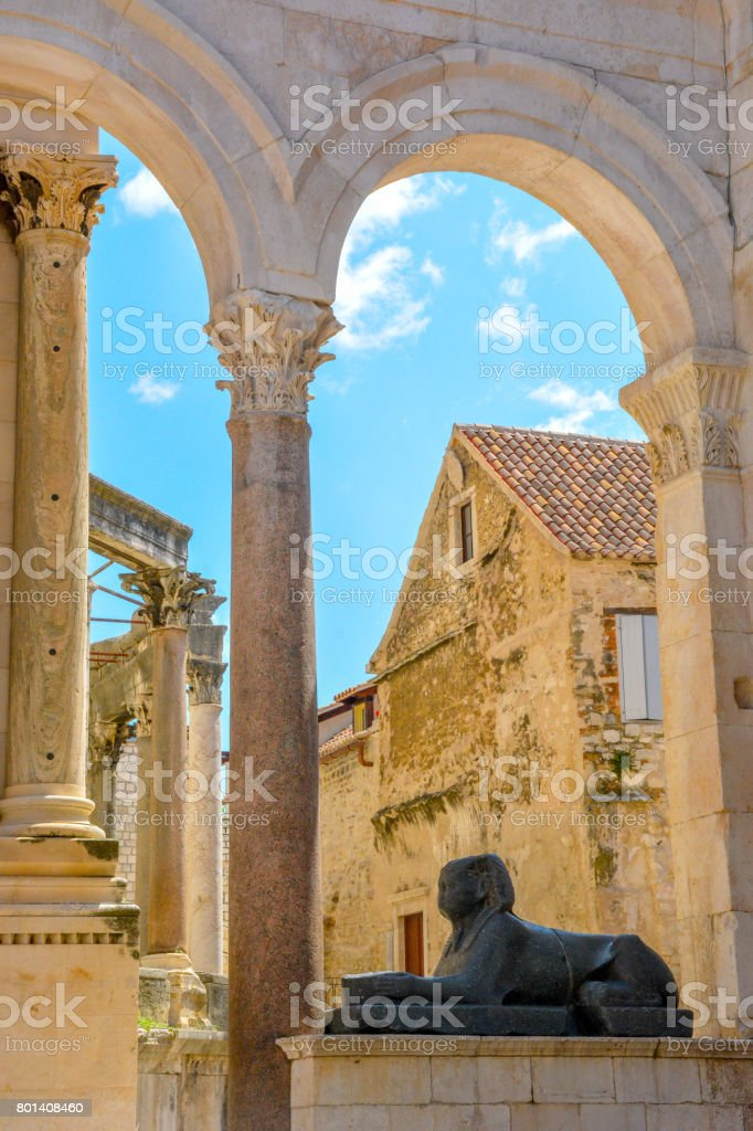 Medieval sculptures of a lion on the Cathedral of St Doimus, Split Croatia stock photo