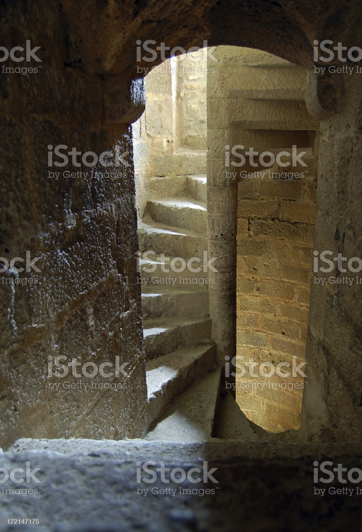 Medieval spiral stairs royalty-free stock photo