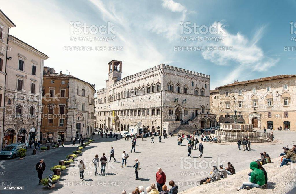 Medieval square, Perugia, Italy stock photo