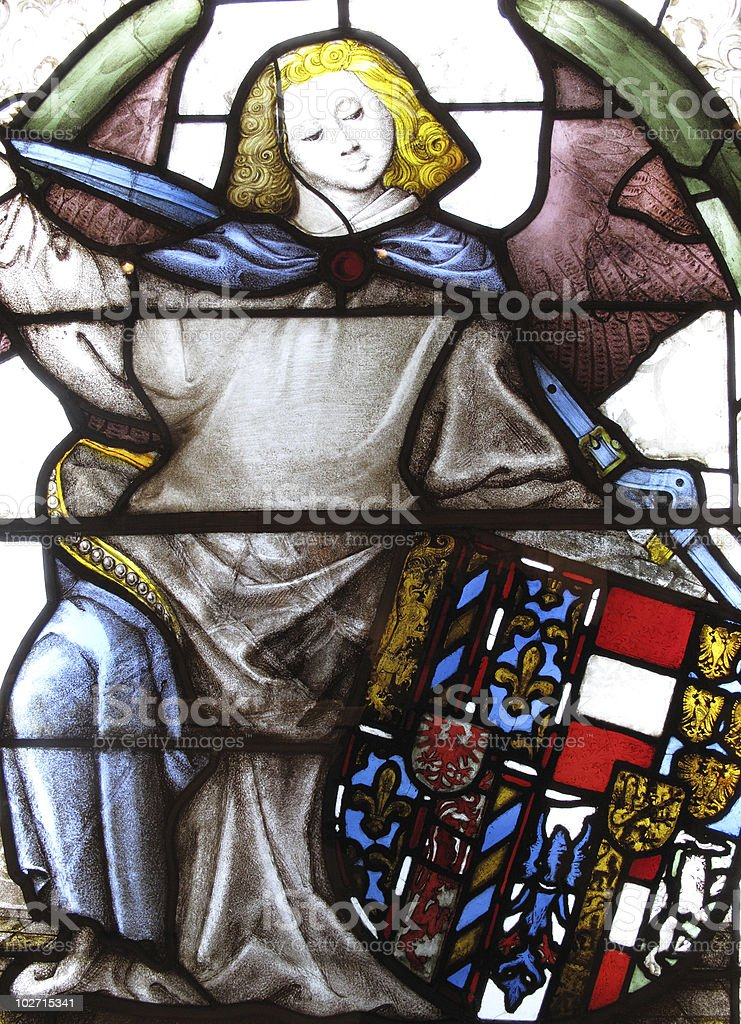 Medieval Stained Glass Armorial Window Panel stock photo
