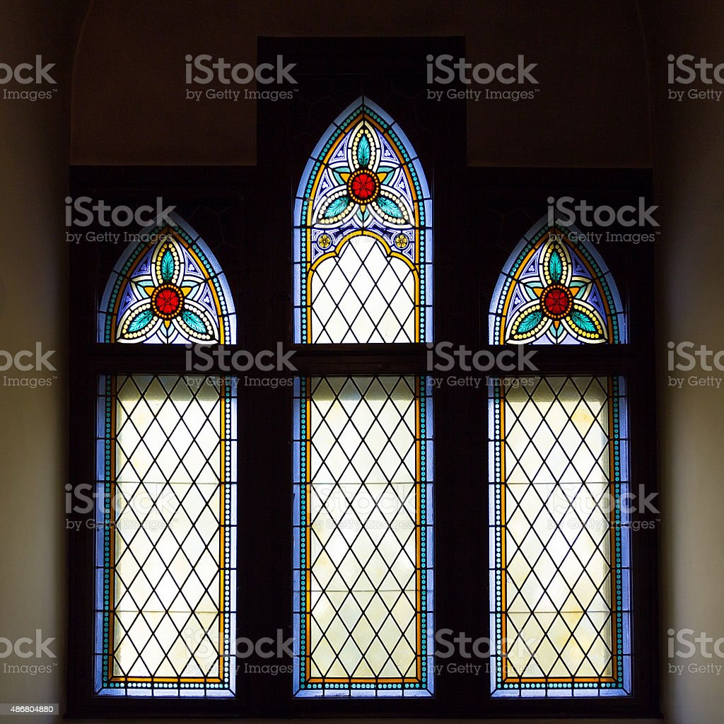 Medieval stained glass stock photo