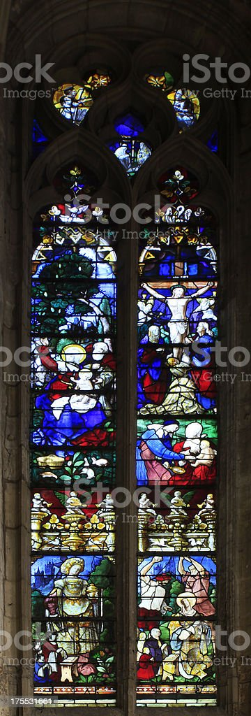 Medieval Stained Glass Window royalty-free stock photo
