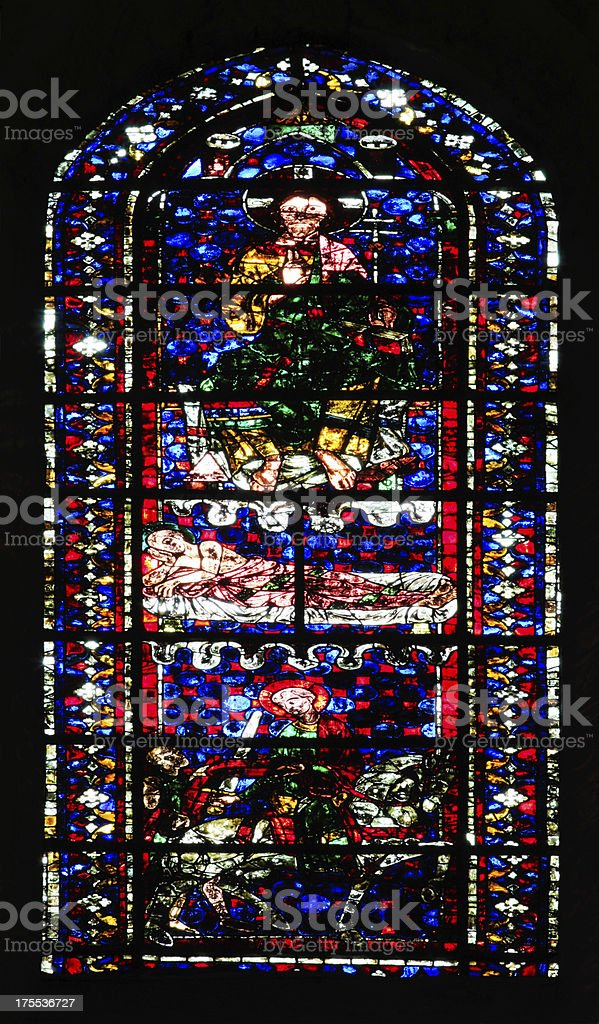 Medieval Stained Glass Window Saint-martin, Cathedral Notre-Dame de Chartres, France stock photo