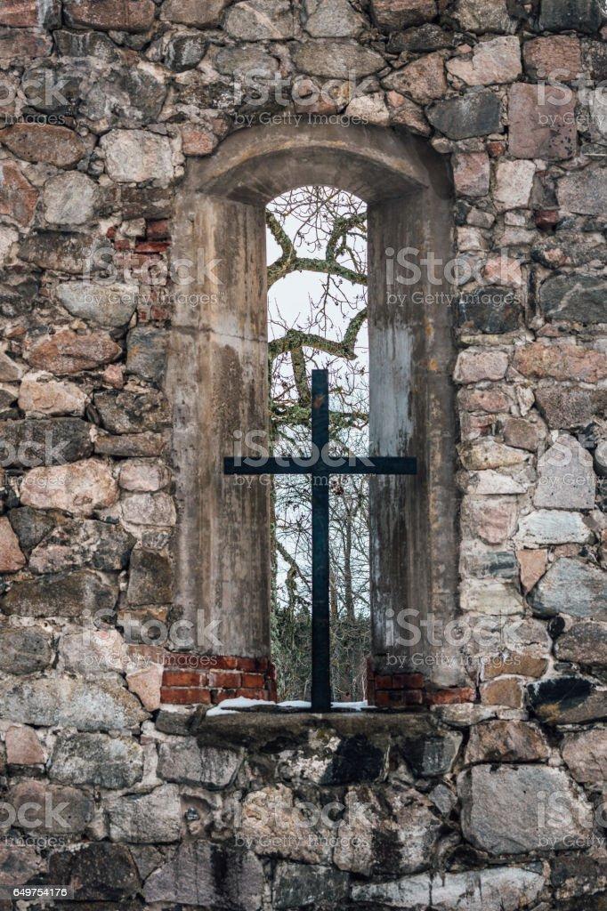 Medieval stone church stock photo