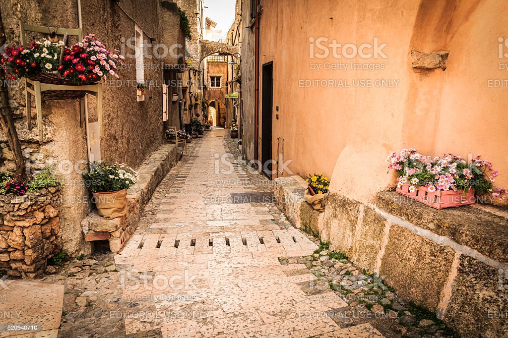 Medieval street alley with flowers and plants stock photo