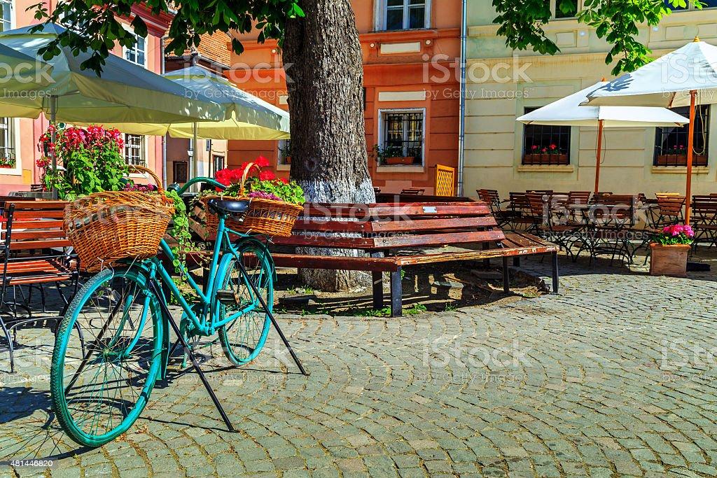 Medieval street cafe bar,Sighisoara,Transylvania,Romania,Europe stock photo