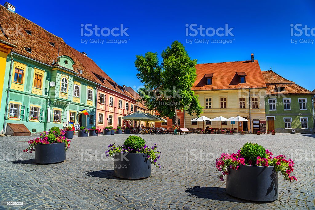 Medieval street cafe bar,Sighisoara,Transylvania,Romania,Europe stock photo