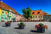 Medieval street cafe bar,Sighisoara,Transylvania,Romania,Europe
