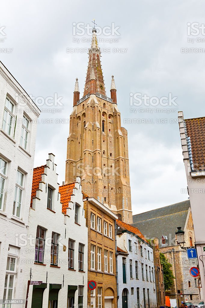 Medieval street in historic part of Bruges. royalty-free stock photo