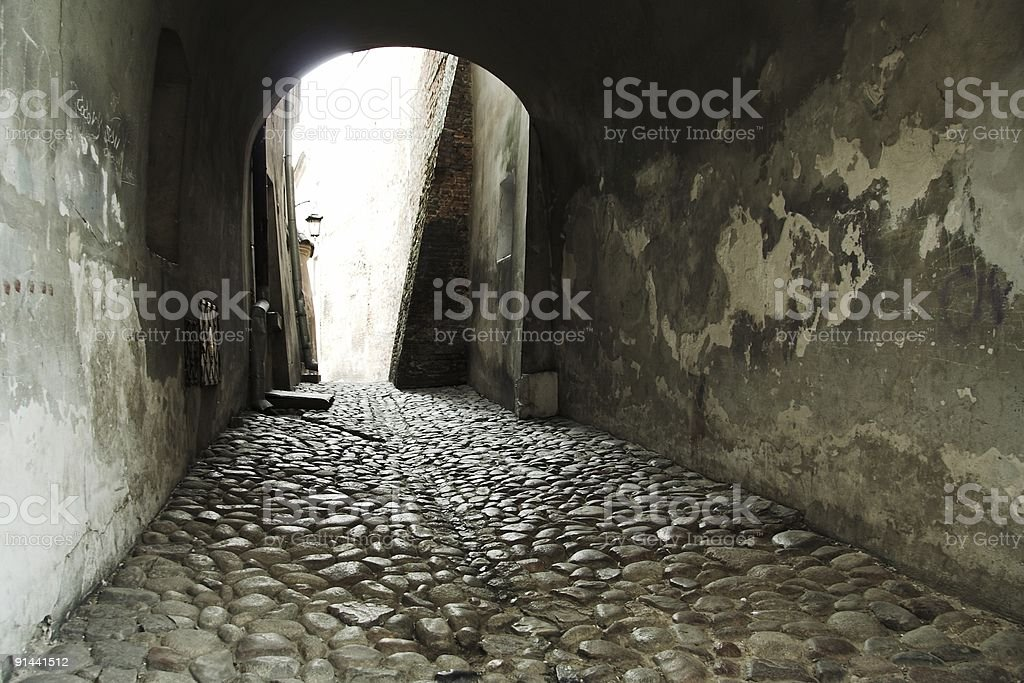 Medieval Street in Lublin Poland stock photo