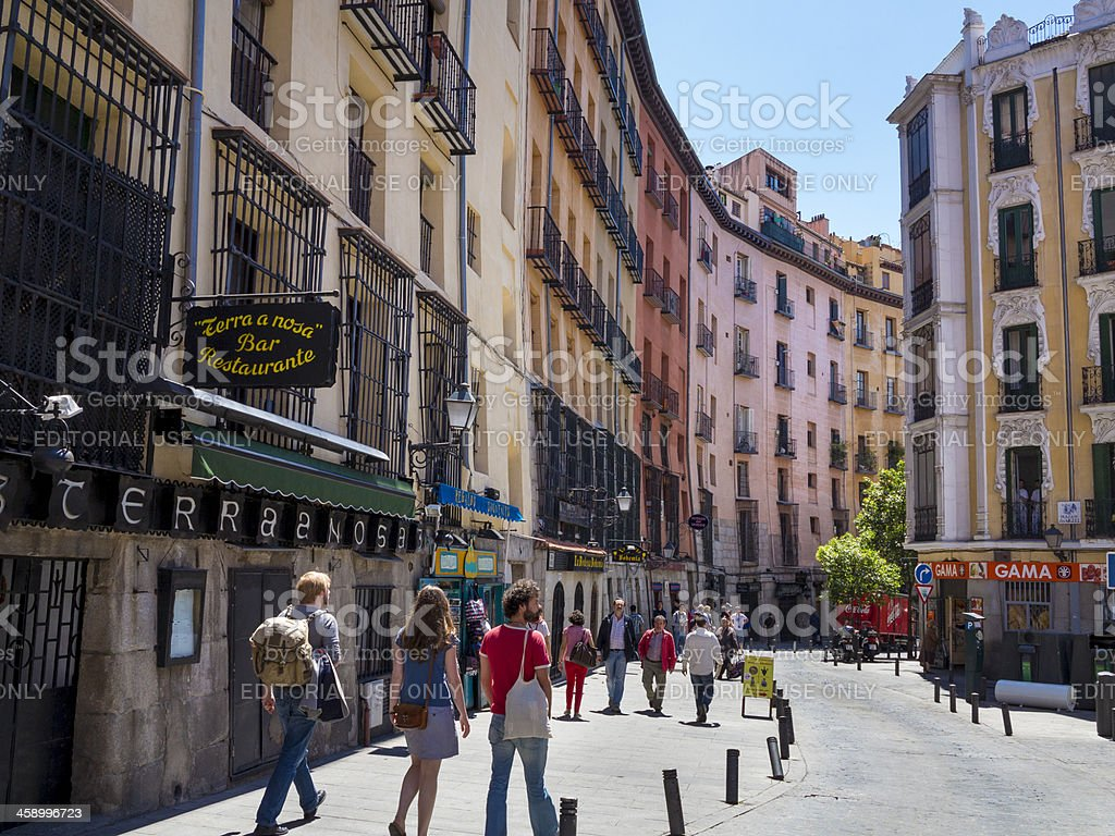 Medieval street in Old Madrid stock photo