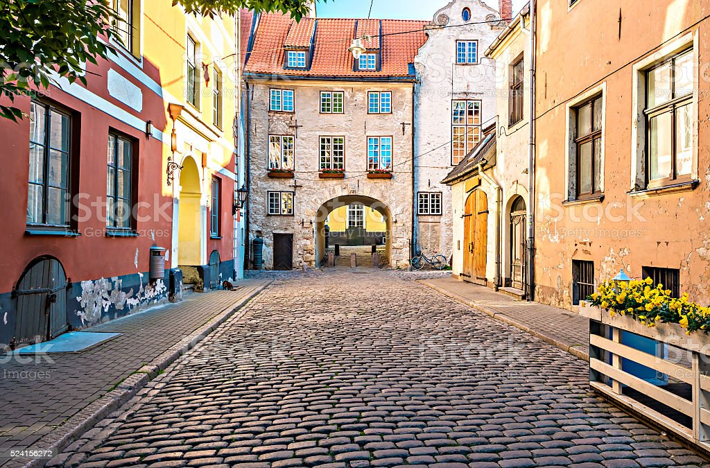 Medieval street in old Riga city, Latvia stock photo