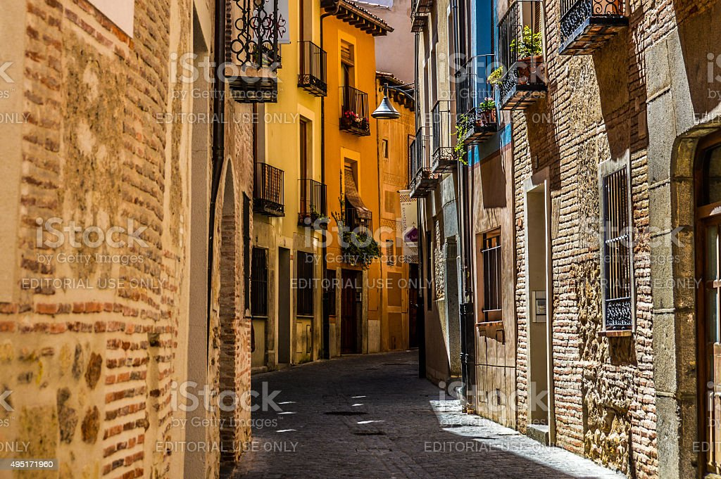 Medieval street in Segovia, Spain stock photo