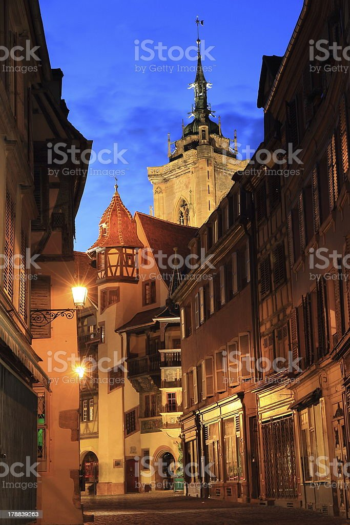 Medieval street of Colmar stock photo
