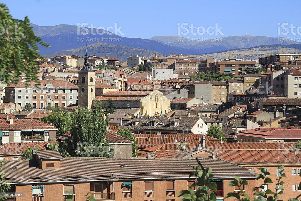 medieval streets of Segovia, Spain stock photo