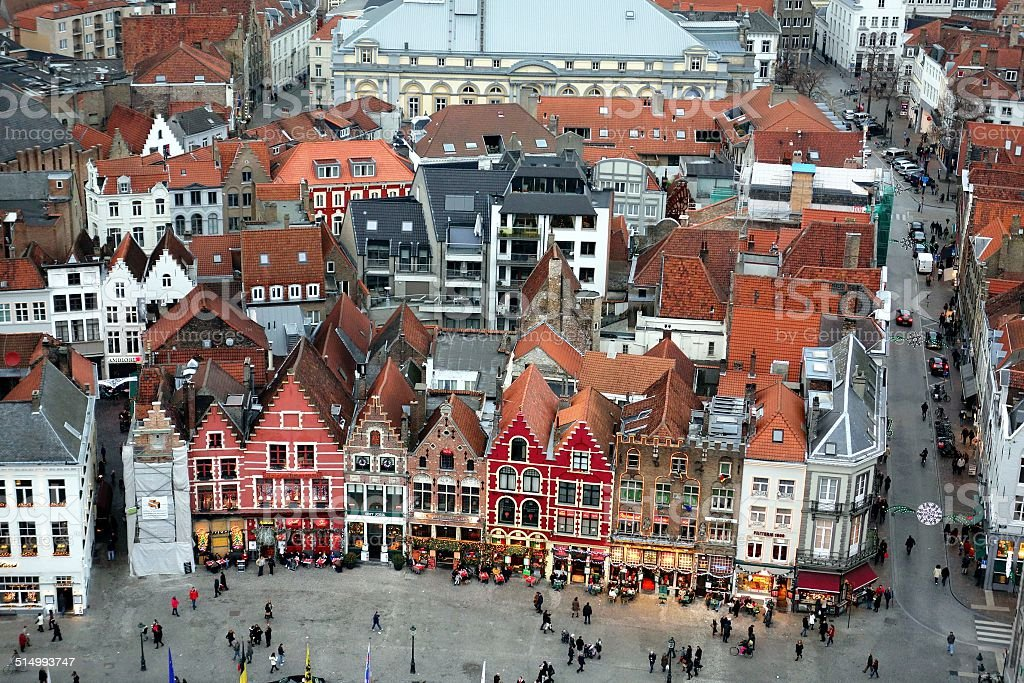 Medieval style buildings near the Grote Markt in Bruge stock photo