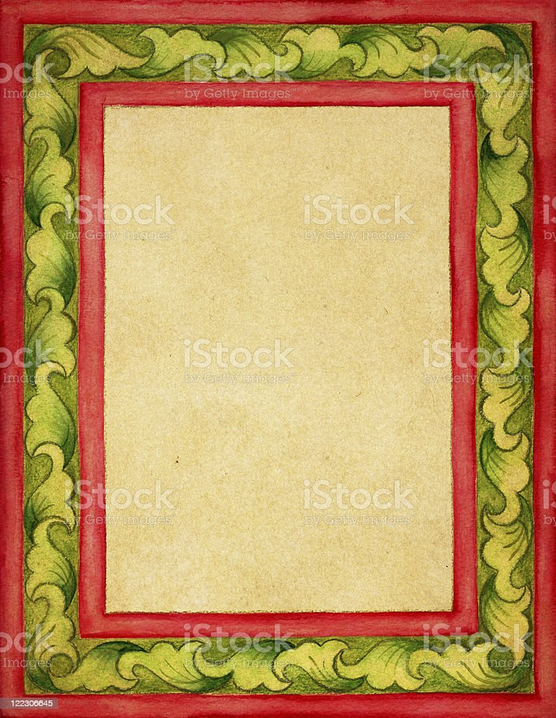 medieval style frame on old paper stock photo