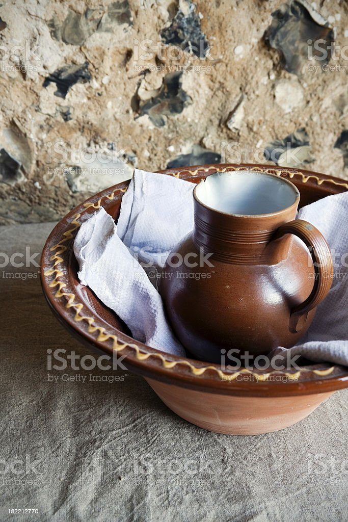 Medieval style jug and bowl royalty-free stock photo