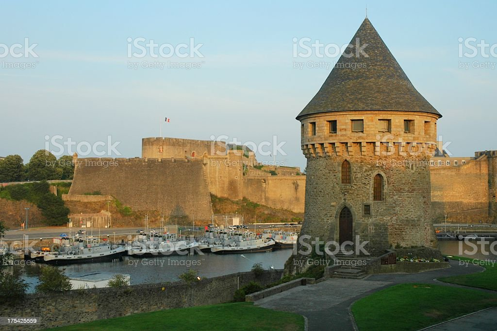 Medieval style watch tower overlooking bay stock photo