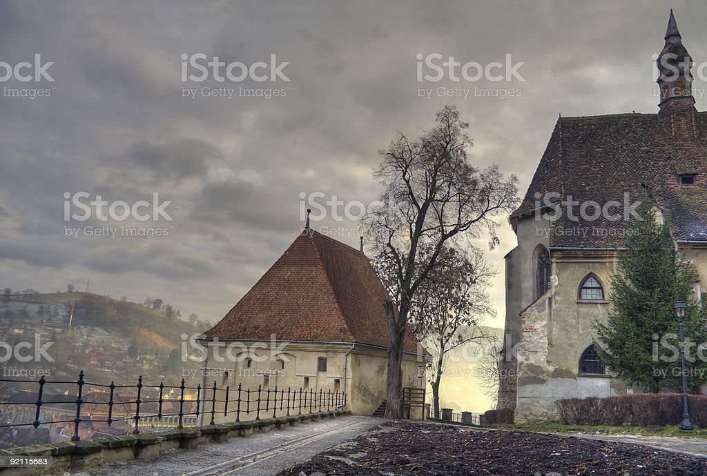 Medieval sunset royalty-free stock photo
