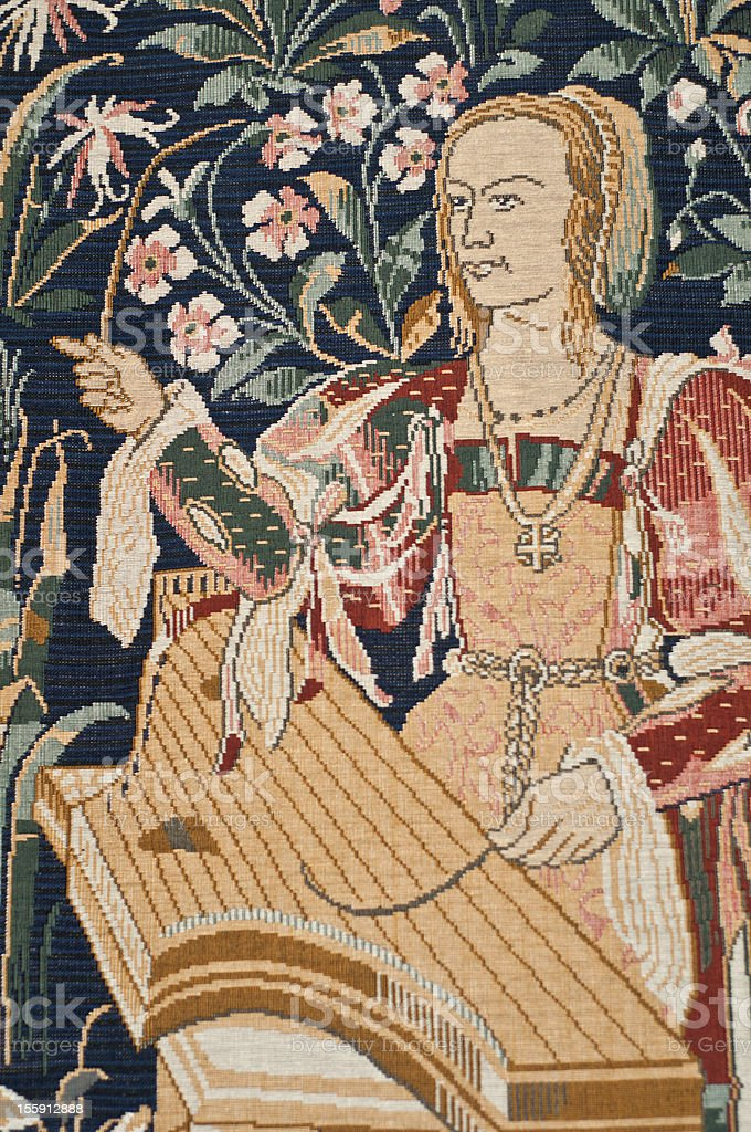 Medieval tapestry detail stock photo