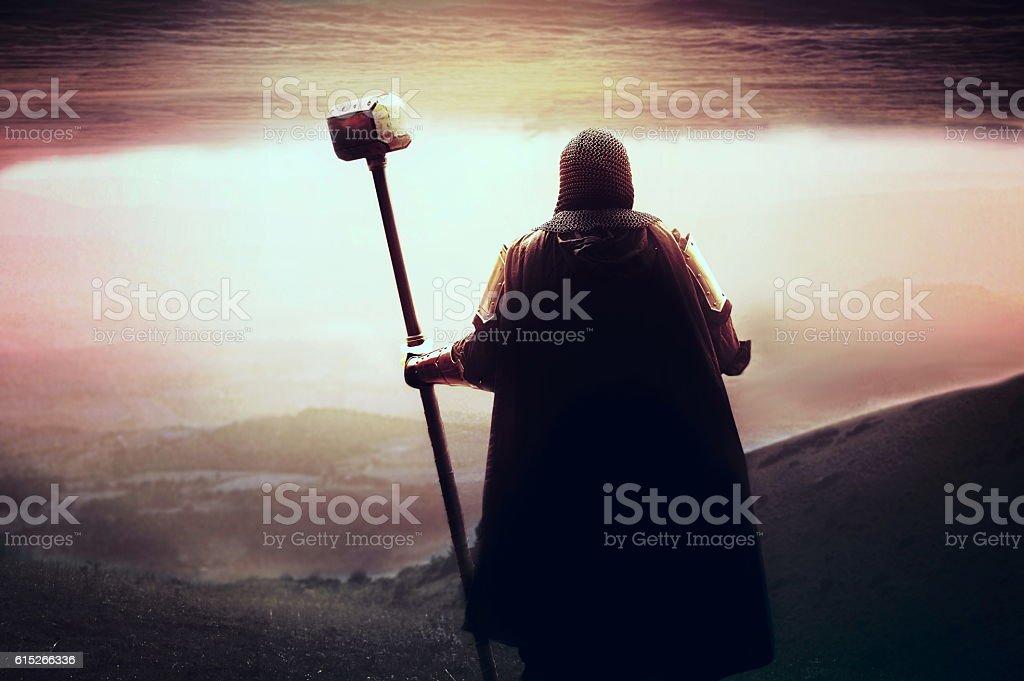 medieval Templars knight stock photo