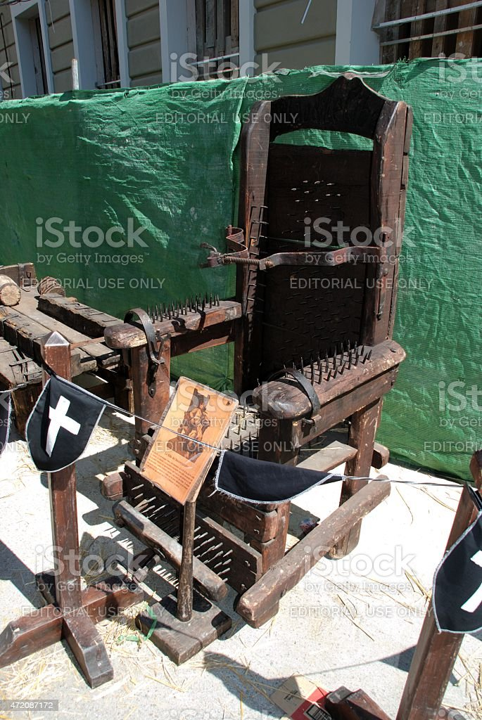 Medieval torture chair, Barbate. stock photo