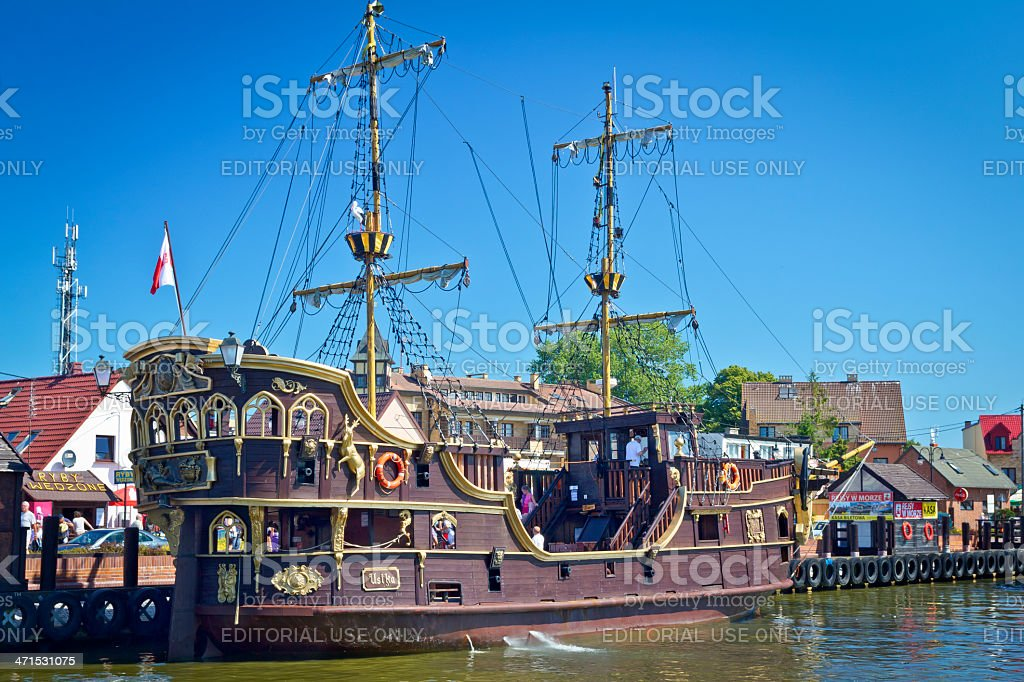 Medieval Tourist Boat stock photo