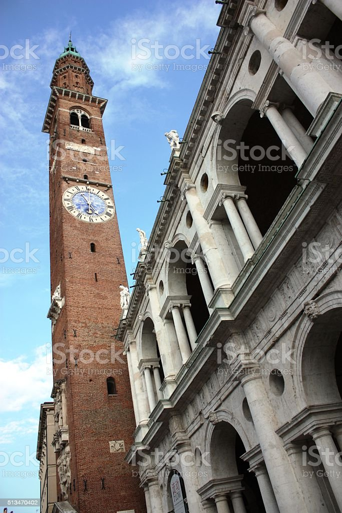 Medieval tower Basilica Palladiana in Vicenza, Veneto Italy stock photo