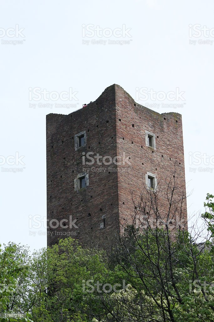 medieval tower of the ancient castle stock photo