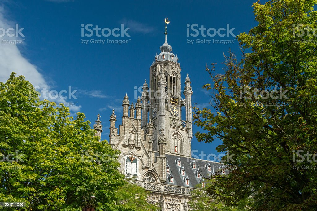 Medieval tower of the town hall of Middelburg the Netherlands stock photo