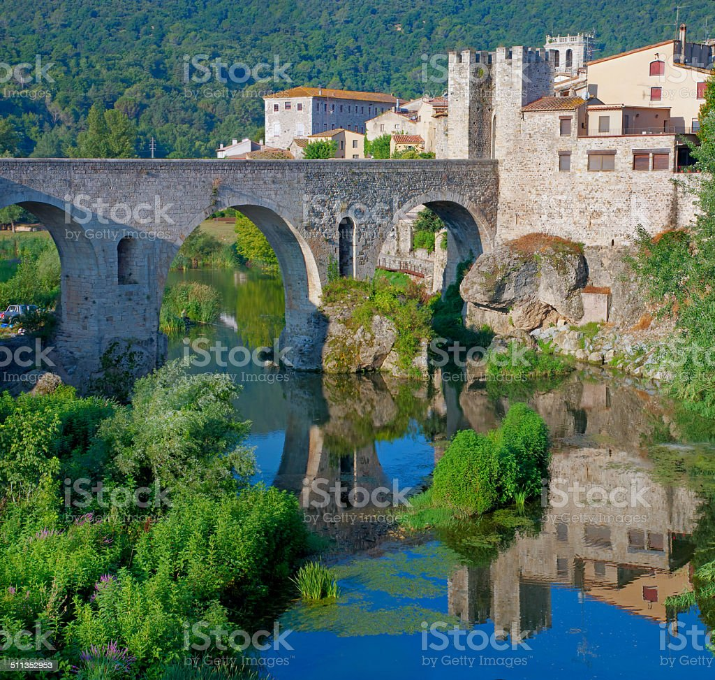 Medieval town  Besalu, Catalonia, Spain stock photo