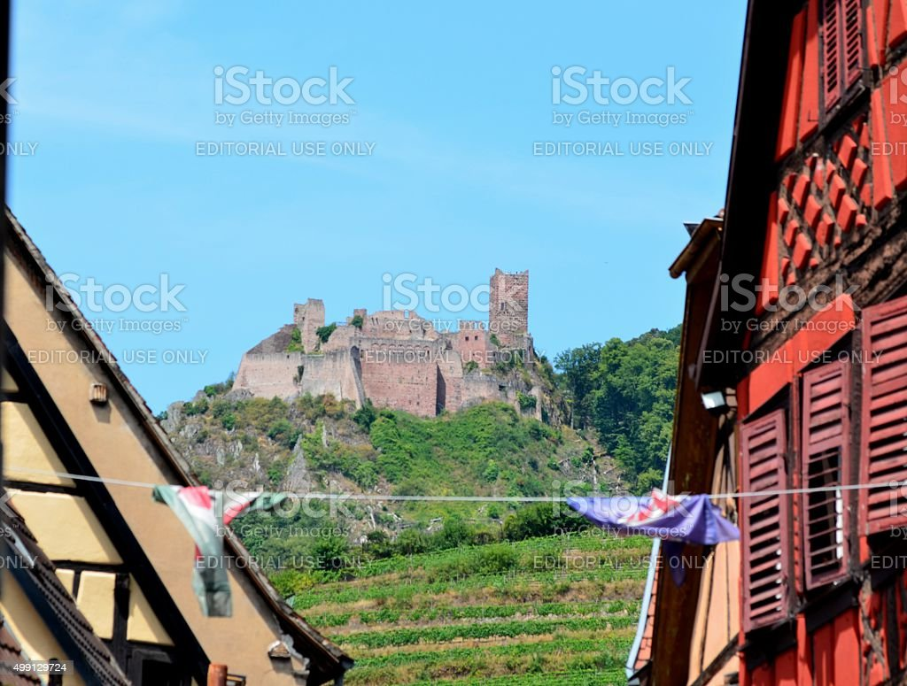 Medieval Town, France: Castle, Vineyards, Houses stock photo