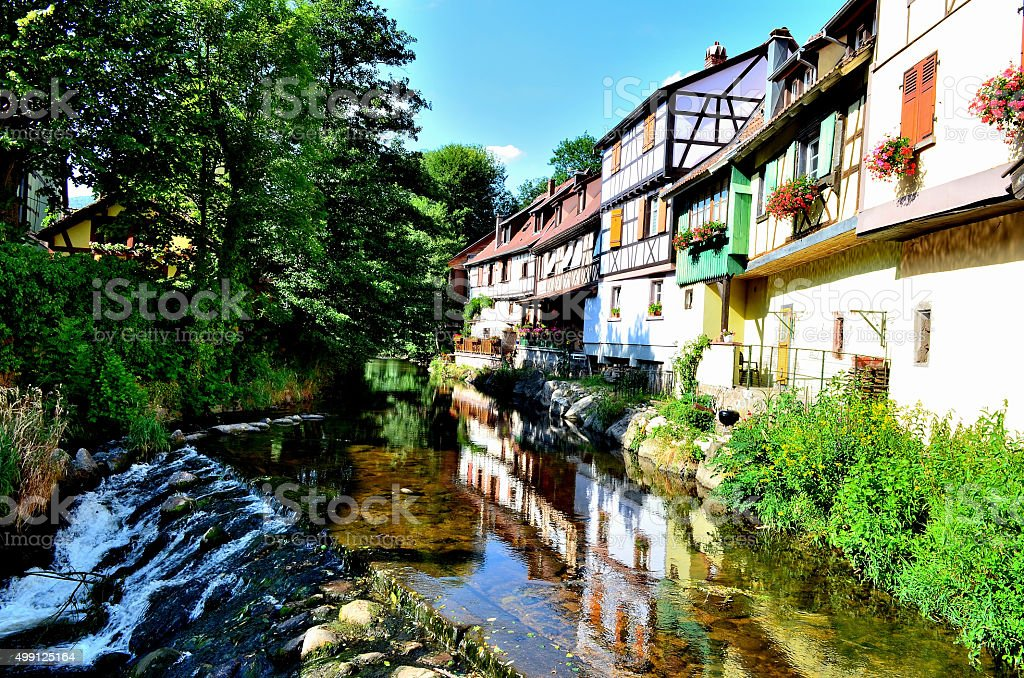 Medieval Town, France: Houses, Reflections in Kaysersberg, Alsace stock photo