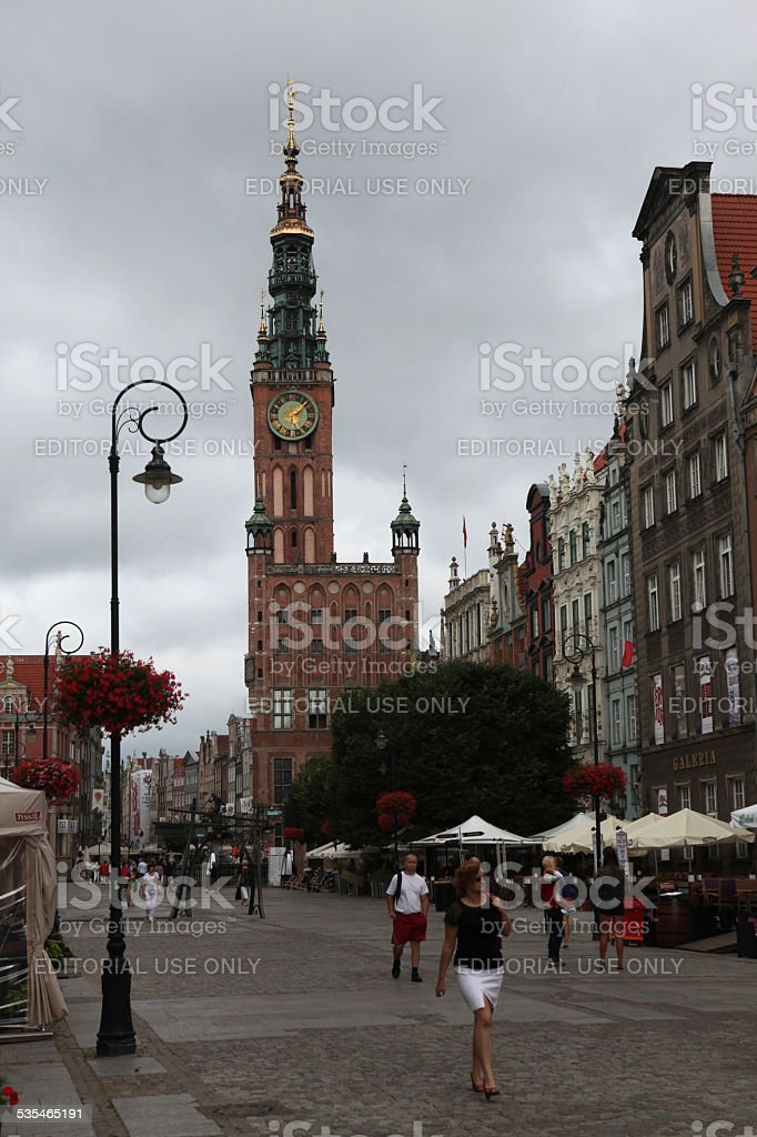 Medieval town hall in Gdansk, Poland. stock photo