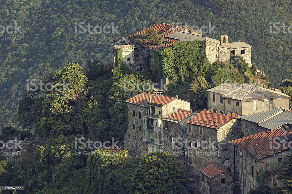medieval town in the mountains, Italy stock photo