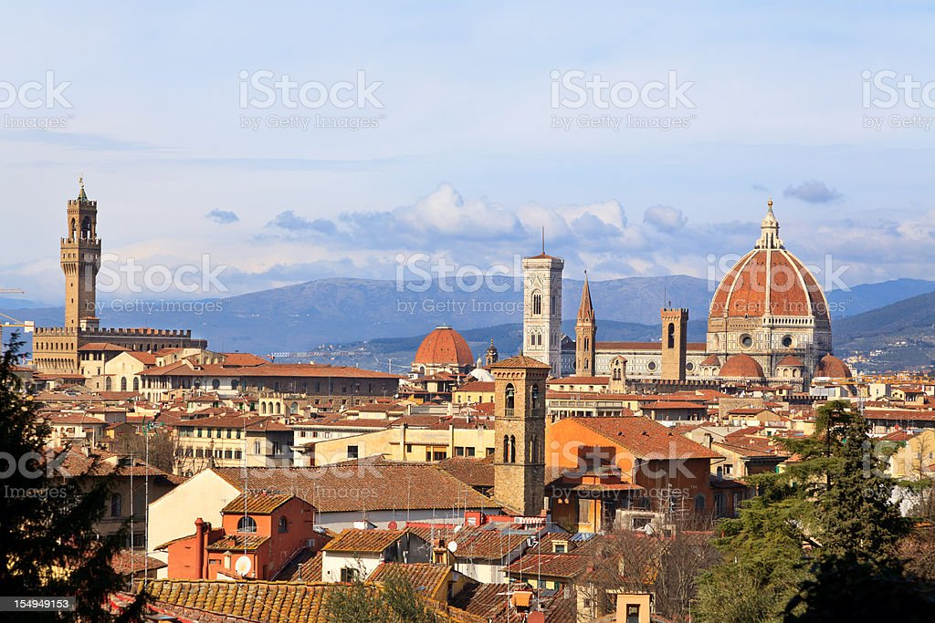 Medieval town of Florence with Duomo, Italy stock photo