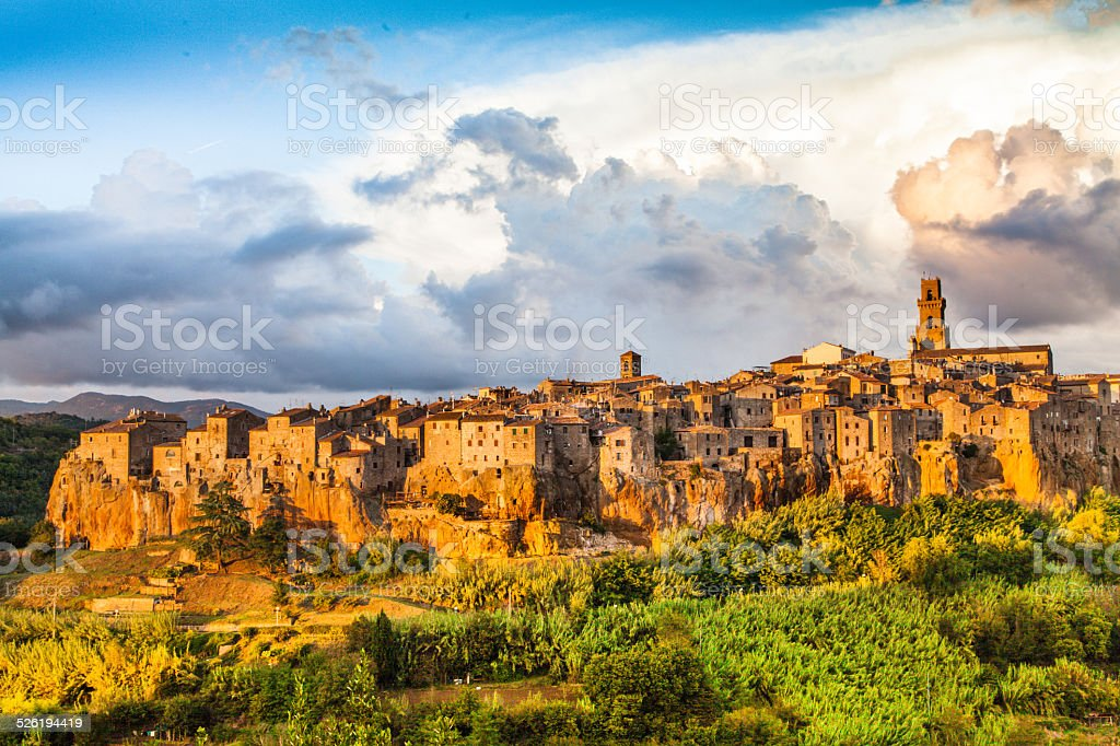 Medieval town of Pitigliano at sunset, Tuscany, Italy stock photo