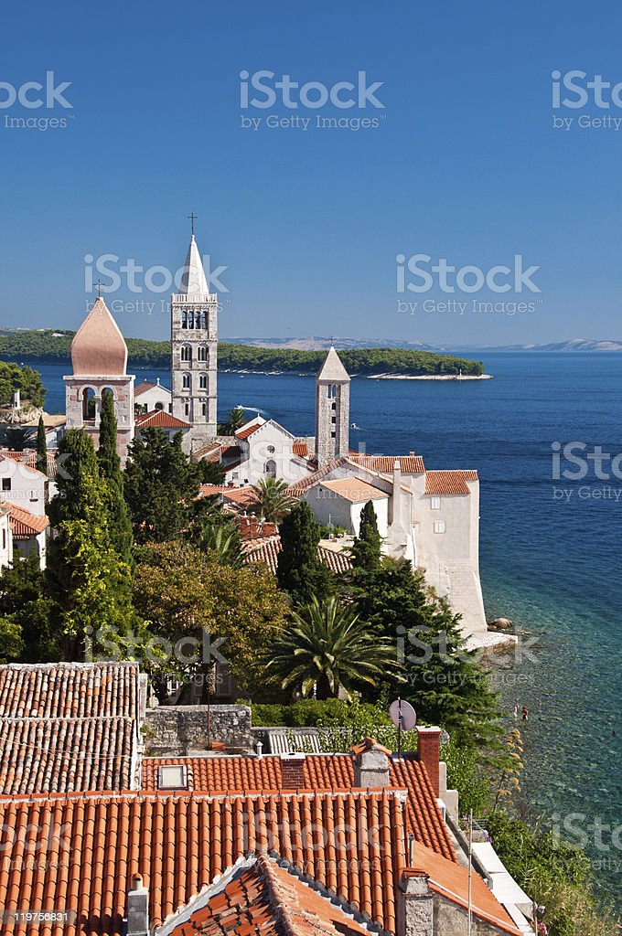 Medieval town of Rab stock photo