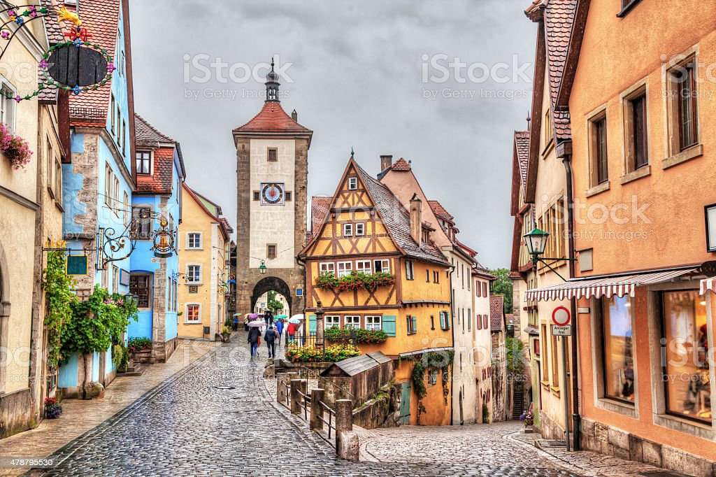Medieval town Rothenburg ob der Tauber in rainy weather stock photo