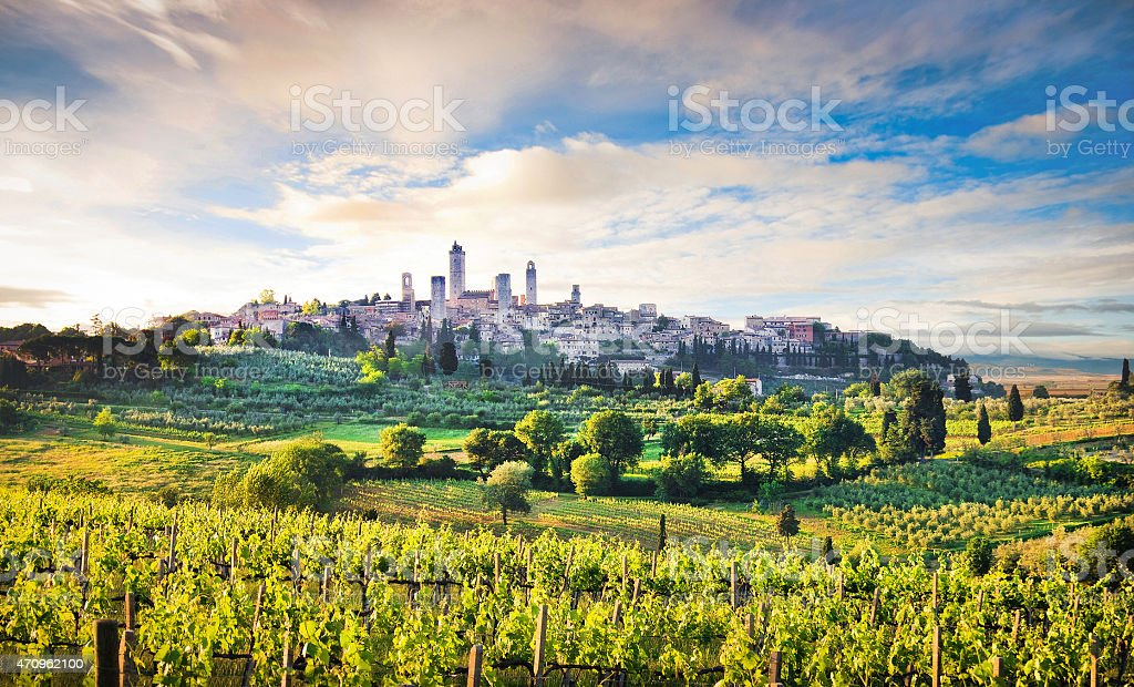 Medieval town of San Gimignano at sunset, Tuscany, Italy stock photo