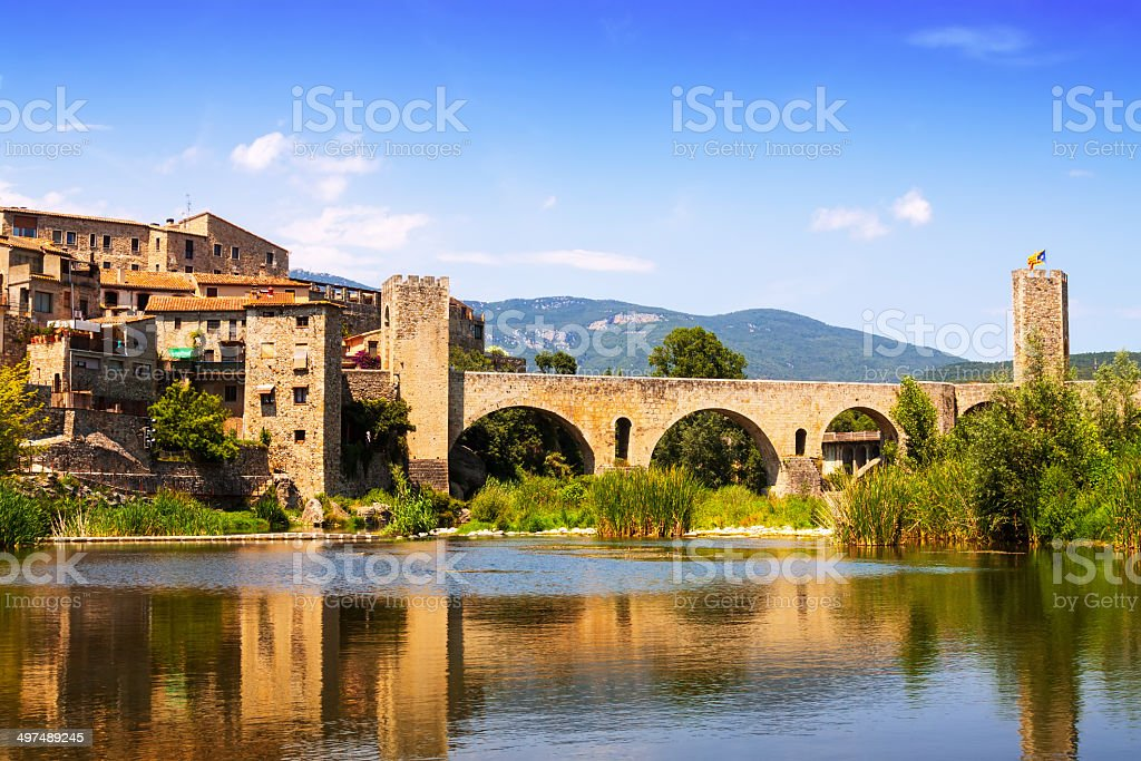 Medieval town on the banks of river. Besalu stock photo