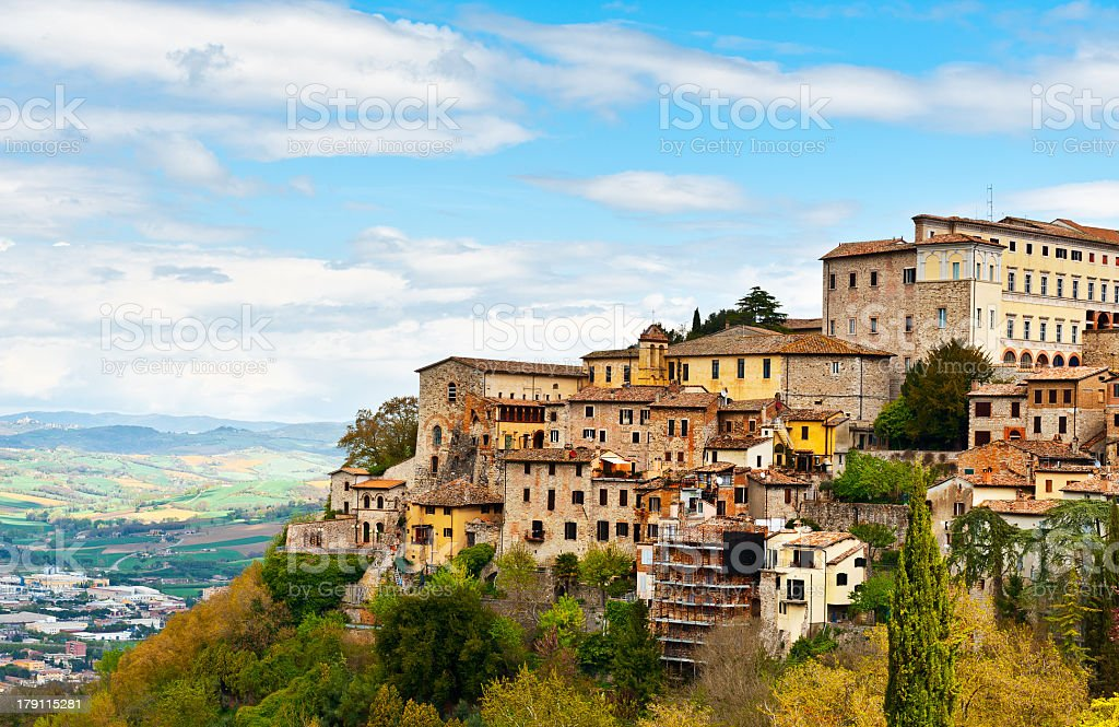 Medieval town on the coast near a cliff stock photo