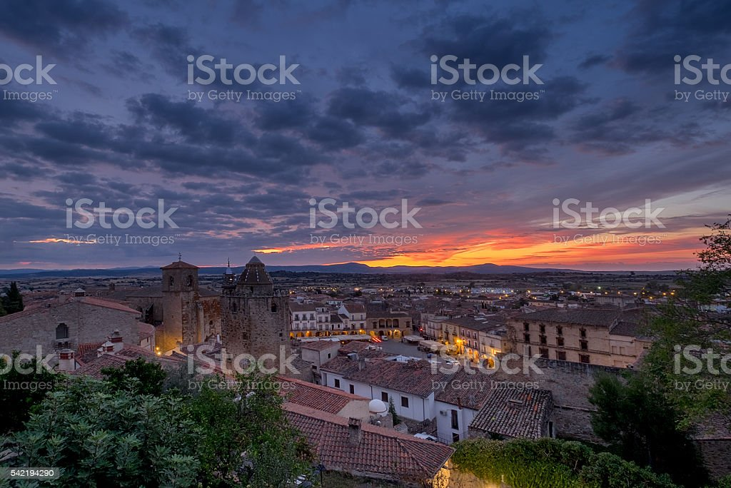 Medieval town Trujillo at sunset. Spain stock photo